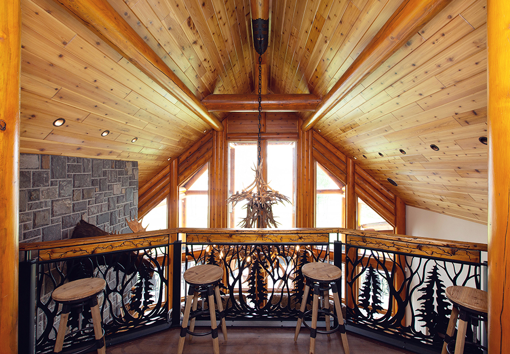 Beaver Mountain Log Homes Kuyahoora Lodge Cedar Hybrid Home Balcony