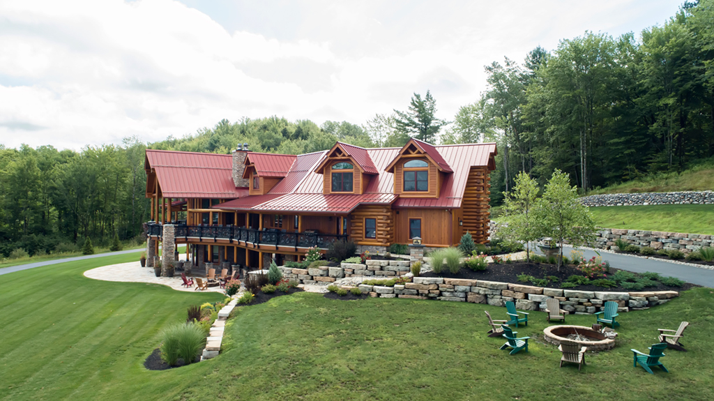 Beaver Mountain Log Homes Kuyahoora Lodge Cedar Hybrid Home Landscaping