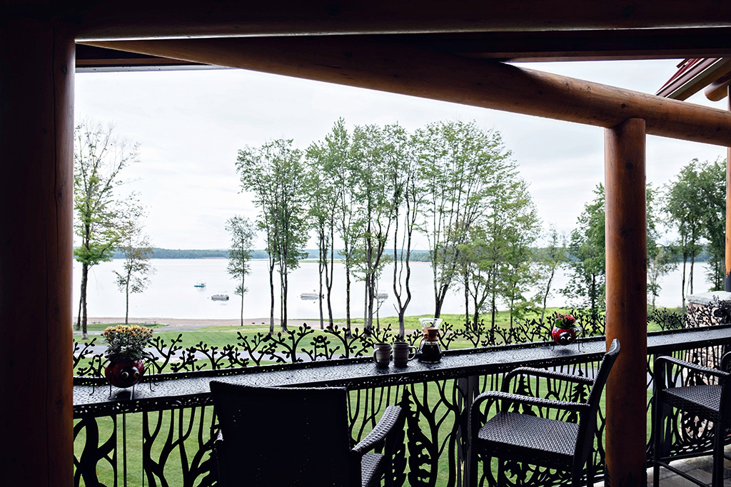 Beaver Mountain Log Homes Kuyahoora Lodge Cedar Hybrid Home View of Lake