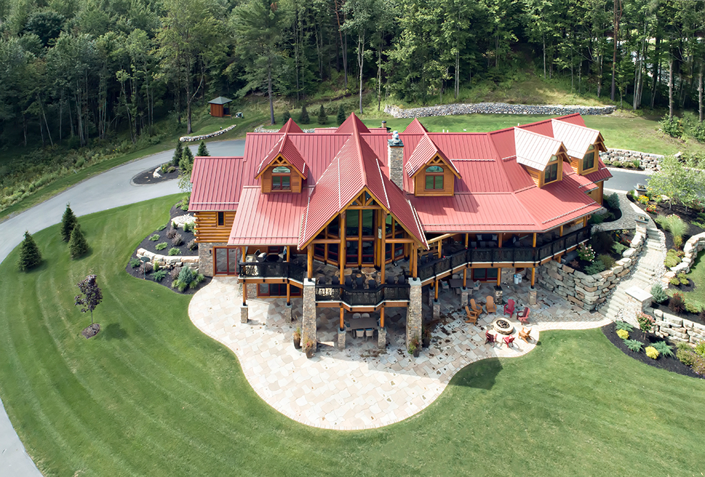 Beaver Mountain Log Homes Kuyahoora Lodge Cedar Hybrid Home View From Above
