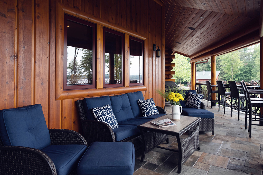 Beaver Mountain Log Homes Kuyahoora Lodge Cedar Hybrid Home Porch