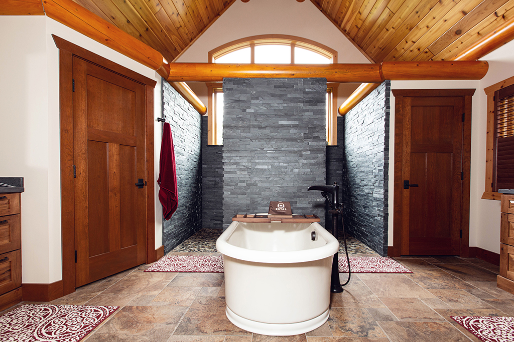Beaver Mountain Log Homes Kuyahoora Lodge Cedar Hybrid Home Master Bathroom