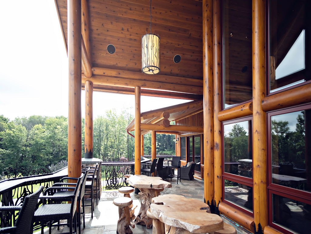 Beaver Mountain Log Homes Kuyahoora Lodge Cedar Hybrid Home Timber Porch