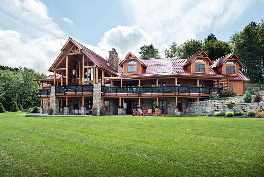 Beaver Mountain Log Homes Kuyahoora Lodge Cedar Hybrid Home Exterior
