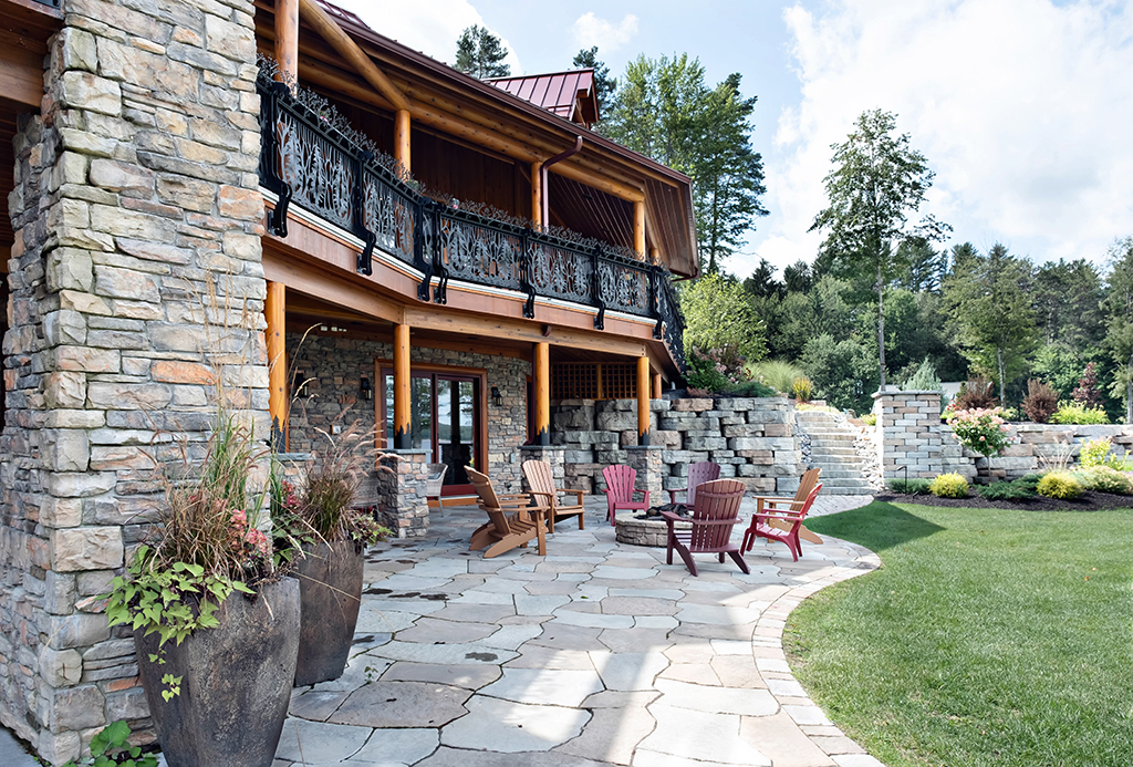 Beaver Mountain Log Homes Kuyahoora Lodge Cedar Hybrid Home Stone Patio