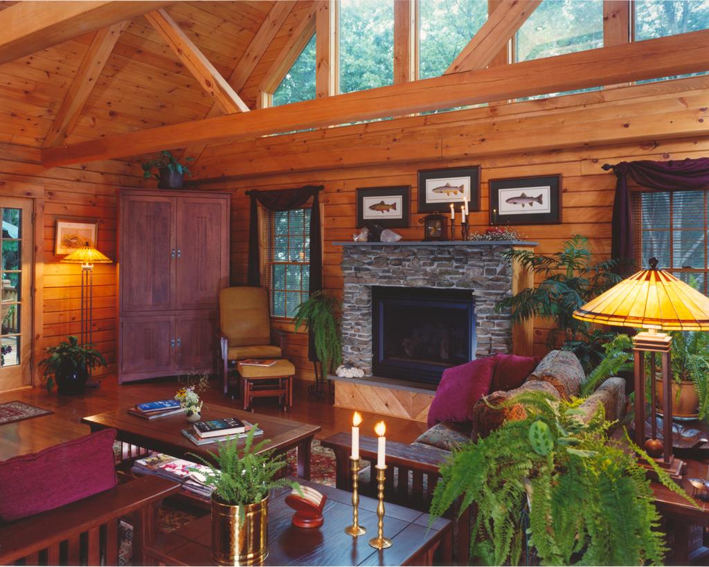 Beaver Mountain Classic Lodge Log Home Living Room