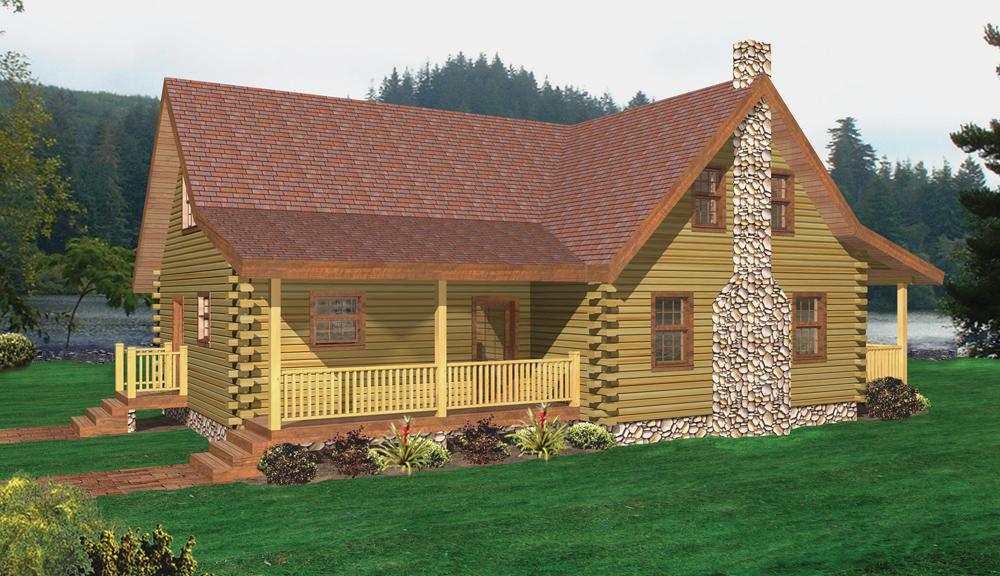 Saranac Log Home Elevation